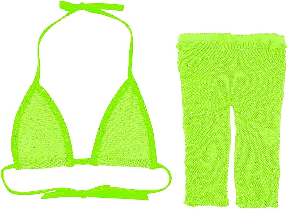 ranrann Womens Glitter Rhinestone Fishnet Bikini Lingerie Set Bra Crop Top with Short Pants