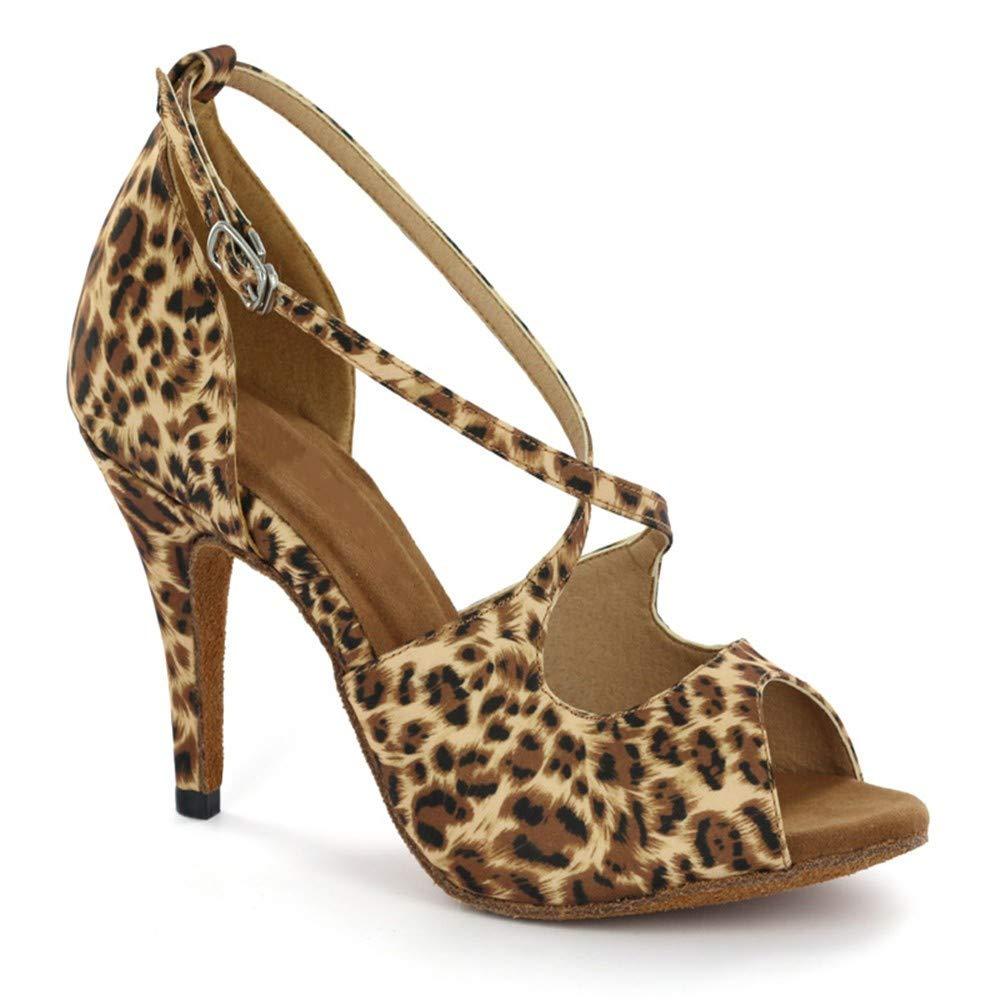 8.5cm HCCY Chaussures de Danse Latine pour Femme, Chaussures de Danse Douce, imprimé léopard 36 EU