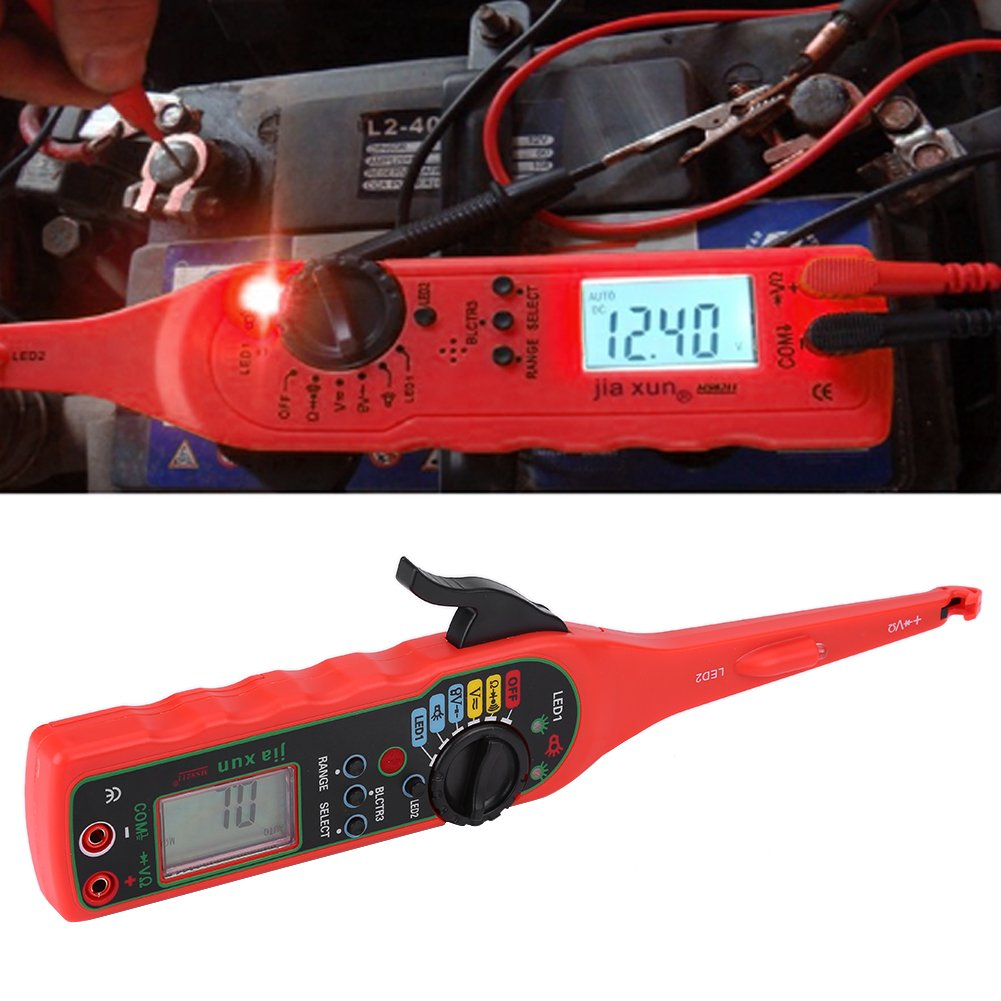 4 in 1 Auto Circuit Tester Multimeter Lamp Car Repair Automotive Electrical Diagnostic Tool ((Multimeter +Test lamp +Lighting Lamp + Probe)(Red) by Walfront (Image #4)