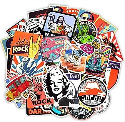 DSSK Etiqueta engomada del Estilo Retro Graffiti Travel Funny JDM Stickers para DIY Sticker en la Maleta Equipaje Laptop Bicicleta Skateboard Car 50 Unids: Amazon.es: Coche y moto