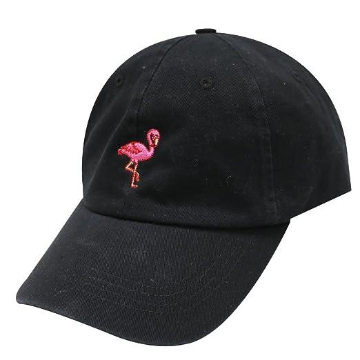 0b61807f8f9a6 City Hunter C104 Flamingo Small Embroidery Cotton Baseball Cap 13 Colors  (Black)