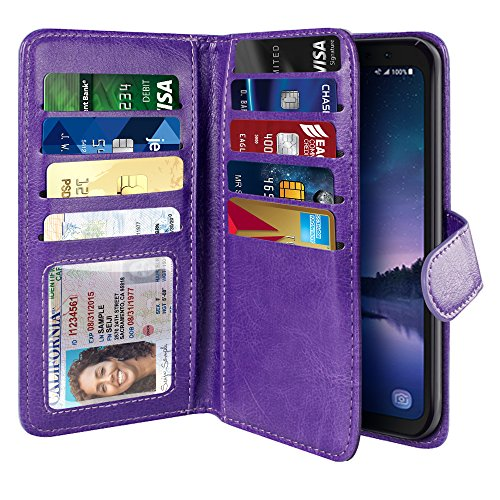 NEXTKIN Galaxy S8 ACTIVE Case, Leather Dual Wallet Folio TPU Cover, 2 Large Pockets Double flap Privacy, Multi Card Slots Snap Button Strap For Samsung Galaxy S8 ACTIVE G892A 5.8 inch - Purple