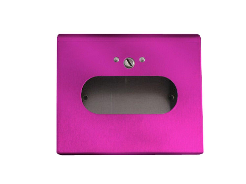 S.A.C IC1500BPK Powder Coated Steel Sanitary Napkin Disposal Box Bag Dispenser with Lock, 6-1/4'' Length x 5-1/2'' Width x 1-1/2'' Height, Pink