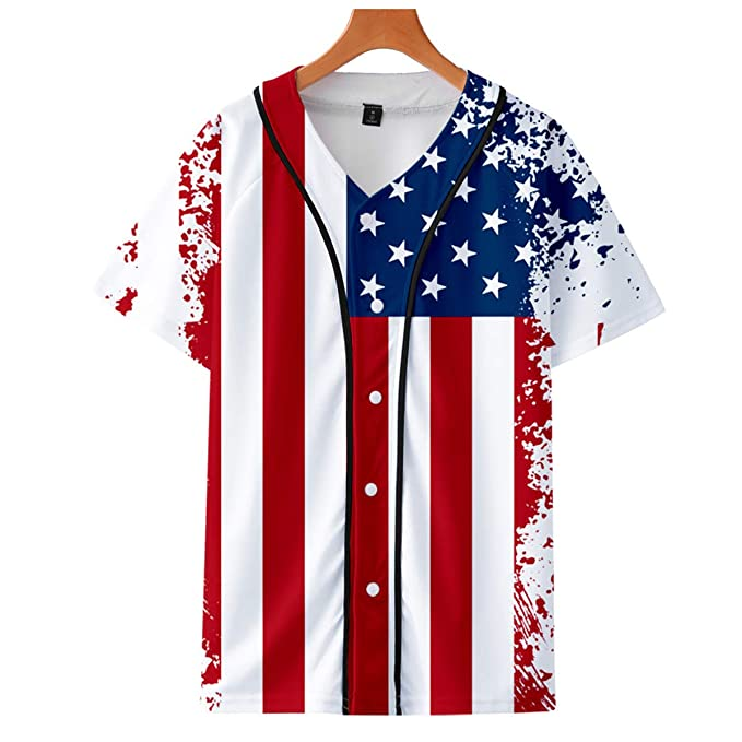 0626f45e MGDL-R Men's Independence Day 3D Printed Graphic Short Sleeve T-Shirt  American Flag