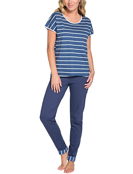 Italian Fashion IF Mujer Pijamas Astrid 0230 (Navy Azul/Blanco, S)