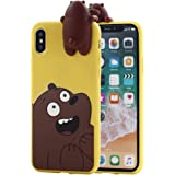 iPhone X Case, Umiko(TM) Cute 3D Cartoon Panda Grizzly We Bare Bears Soft Silicone Cover TPU Case for Apple iPhone X iPhone 10 (2017) Women, Brown