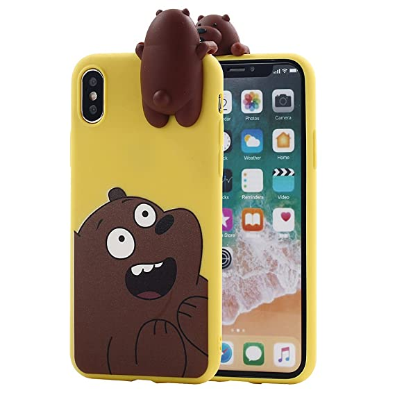 brand new 1deb8 b425a iPhone X Case, Umiko(TM) Cute 3D Cartoon Panda Grizzly We Bare Bears Soft  Silicone Cover TPU Case for Apple iPhone X iPhone 10 (2017) Women, Brown