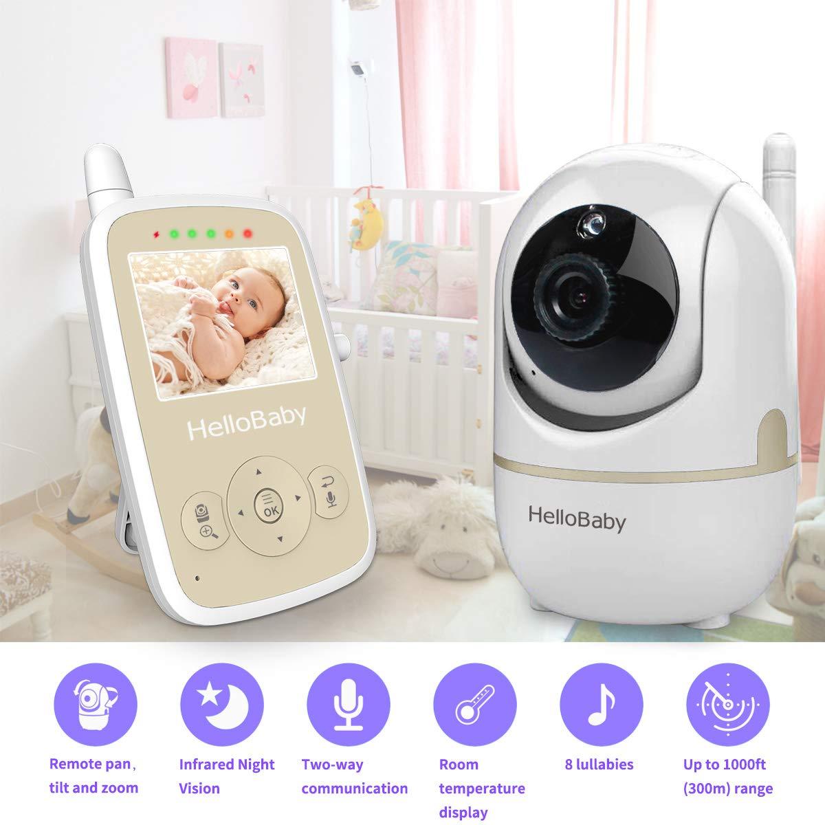 Wandhalterung HelloBaby Video Babyphone mit Fernbedienung Pan-Tilt-Zoom,Temperatur/überwachung HB65 Wiegenlied Zwei-Wege-Audio inkl