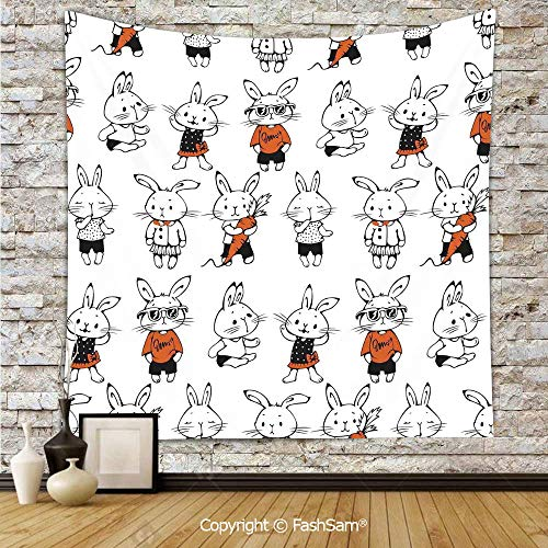 FashSam Tapestry Wall Hanging Cute Retro Bunny Rabbits with Costumes Jack Hare Funky Bunnies Carrot Sketch Style Tapestries Dorm Living Room Bedroom(W59xL90) -