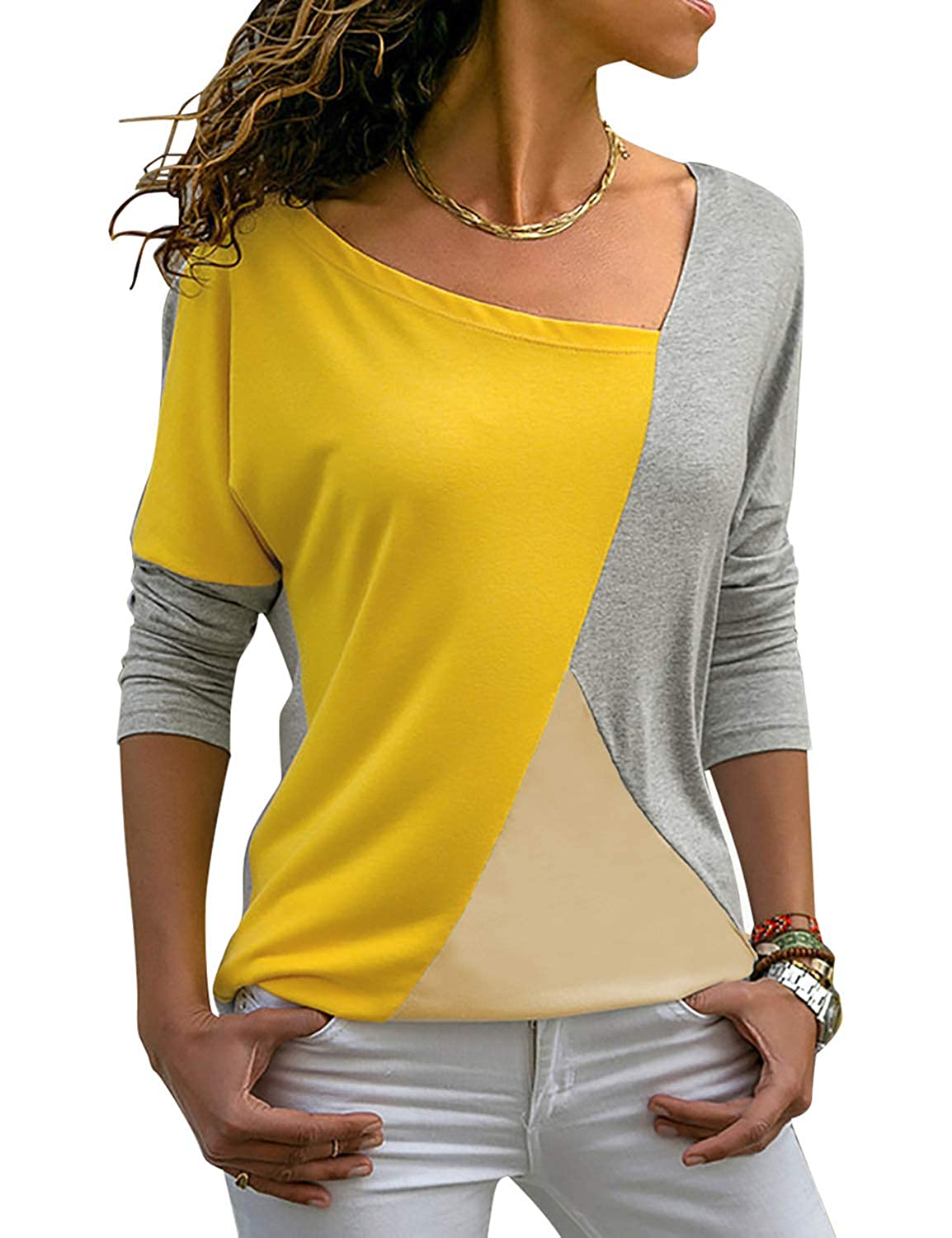 Yellow and bluee luvamia Women's color Block Blouse Casual Long Sleeve Shirt Tunic Top
