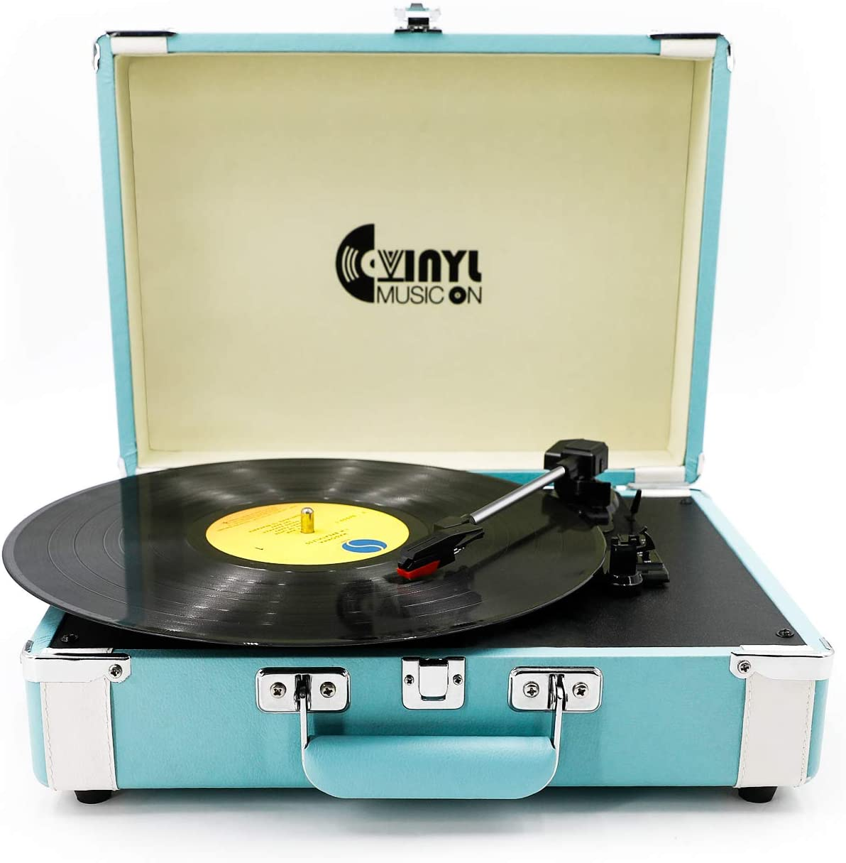3 Speed Suitcase Turntable with Speakers,Portable Vinyl Record Player with RCA Output&Aux Input and Headphone Jack,Sky-Blue