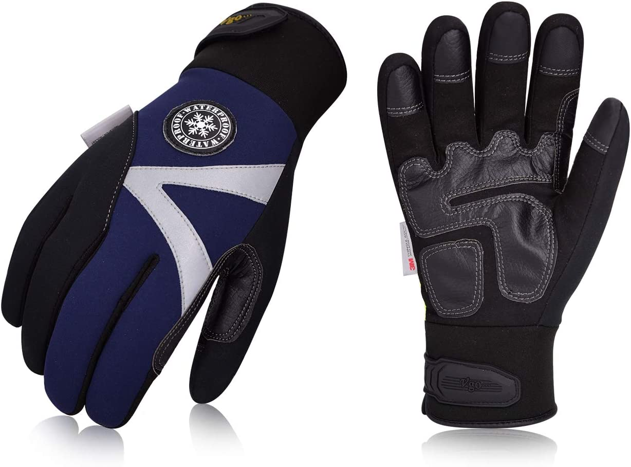 Vgo 2Pairs -4℉ or above 3M Thinsulate C100 Lined High Dexterity Touchscreen Synthetic Leather Winter Warm Work Gloves, Waterproof Insert(Size L,Dark Blue,SL8777)