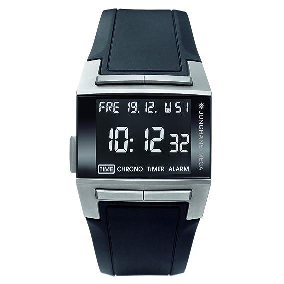 Junghans 026/2801.00 - Reloj digital de caballero de cuarzo con correa de goma negra (alarma, luz, cronómetro, alarma) - sumergible a 50 metros: Amazon.es: ...