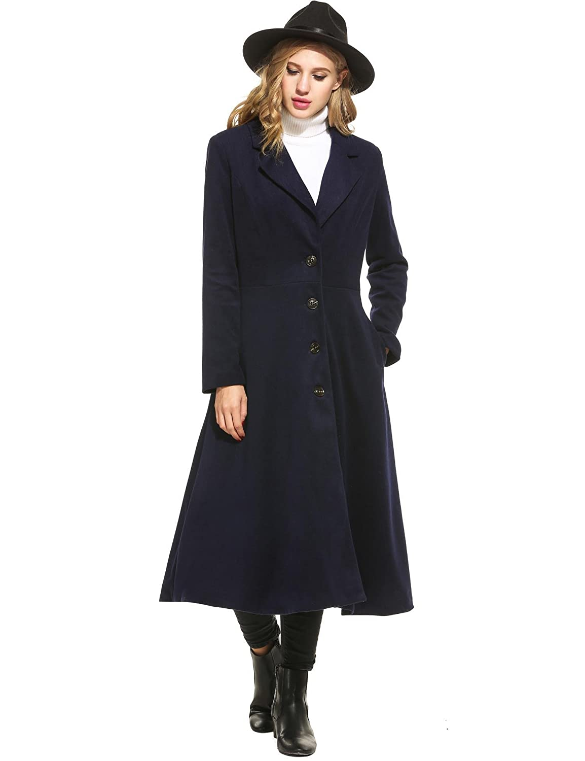 Vintage Coats & Jackets | Retro Coats and Jackets Mofavor Women Long Trench Coat Single Breasted Casual Swing Coat Overcoat Wool Pea Coat $55.89 AT vintagedancer.com