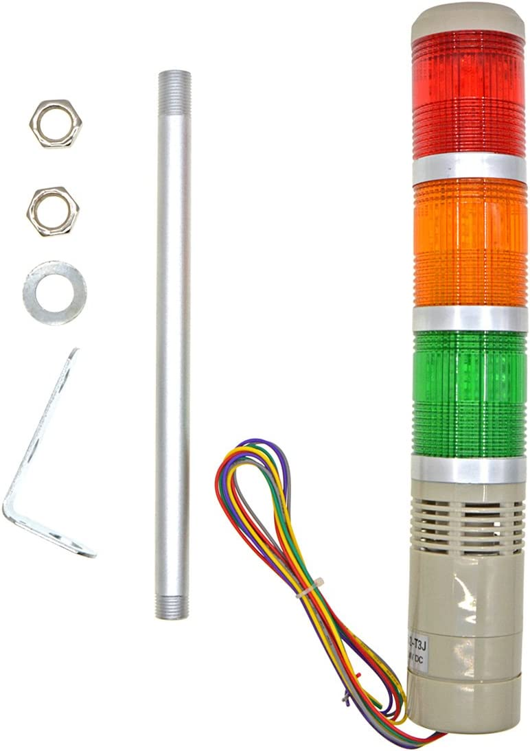 Baomain Industrial Signal Light Column LED Alarm Round Tower Light Indicator Continuous Light Warning light Buzzer Red DC 24V