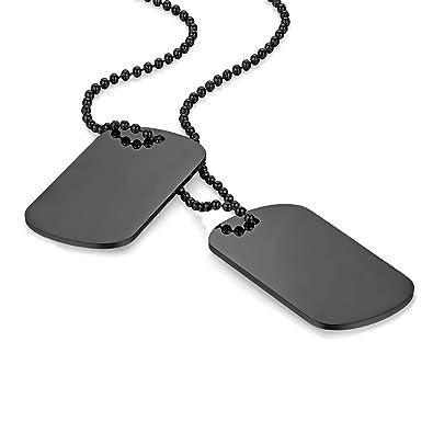 Flongo Placa de Colgante grabada Placa Militar Acero Inoxidable, Collar de Hombre Personalizado, Dog Tag Colgantes Dobles de Ejercito, Plateado 60cm