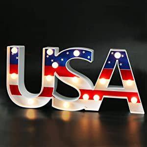 "Bright Zeal 7"" Tall USA LED Marquee Letter Lights with Timer - Marquee Letters with Lights Patriotic Decorations for The Home - Lighted Sign Letters Old Glory Decor Election Day Party Supplies"