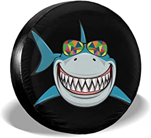 """MXPINK Shark Cartoon Smile Spare Tire Cover, Universal Fit for Jeep,Trailer, RV, SUV, Truck and Many Vehicle, Diameter 14"""" - 17"""", Weatherproof Tire Protectors"""