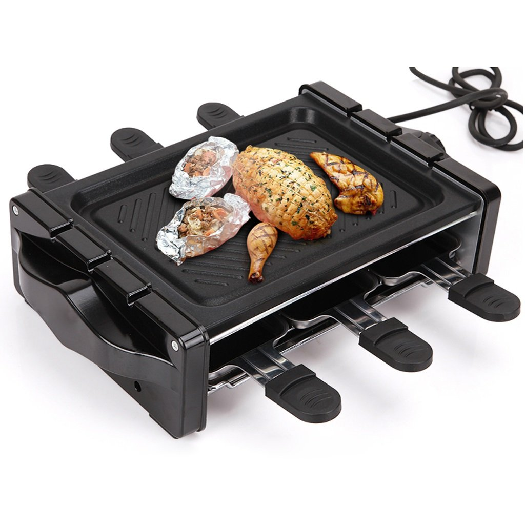 QIANDING SKJ Barbecue Home Smokeless Barbecue Non-Stick Grill Indoor Electric Baking Pan Teppanyaki 2-3 People 1200W Barbecue by QIANDING