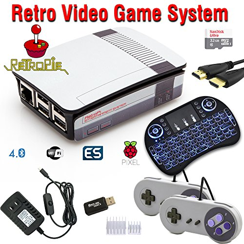Raspberry Pi 3 Based Retro Video Game System - RetroPie - Retro Games - 32GB Edition - Bundle with Wireless Keyboard/Mouse by Crisp Concept Ltd.