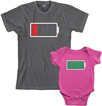 Threadrock Full and Low Battery Infant Bodysuit & Men's T-Shirt Matching Set