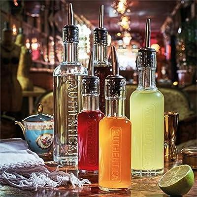 Pack of 2 Bormioli Luigi Bormioli Luigi Spa BOL490010 Mixology Authentica Small Bottle with Silicone//Stainless steel Pourer 4.5 oz.