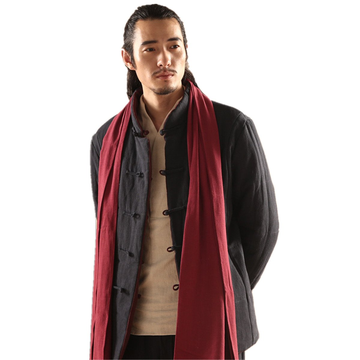 WEISAN Men Chinese Retro Martial Stand Collar Winter Reversible Cotton Wadded Jacket