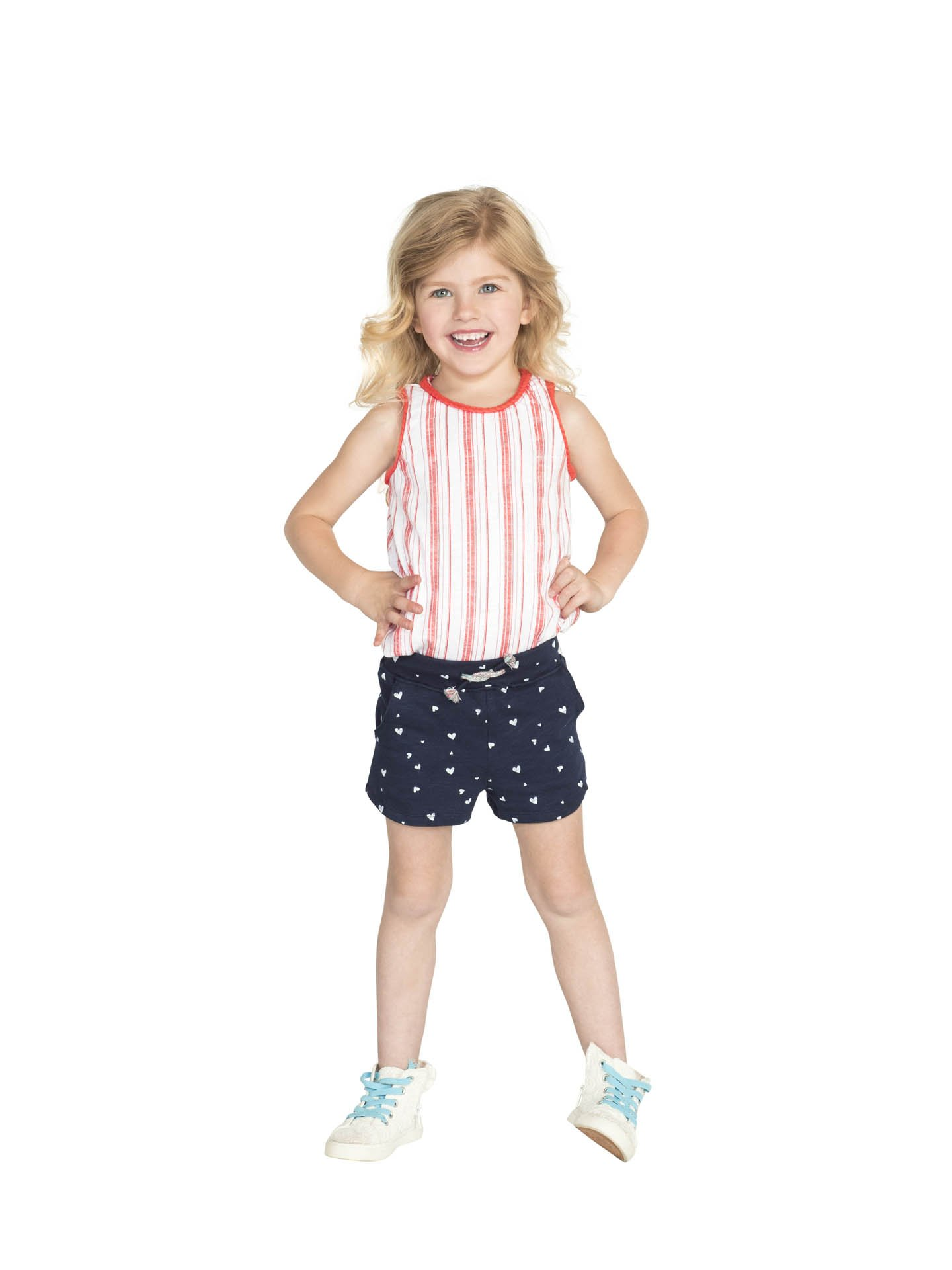 Colored Organics Girls Organic Nika Sport Shorts - Navy/White Heart Print - 2T by Colored Organics (Image #3)