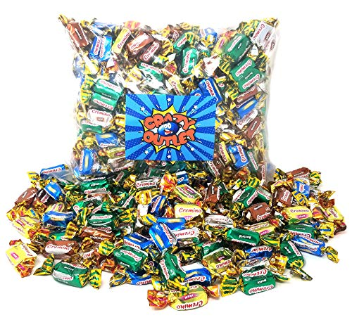 CrazyOutlet Pack - Arcor Assorted Flavor Toffee Candy, Mint, Chocolate, Coffee, Vanilla, Maple Flavor Chewy Candy, Bulk Pack, 2 Lbs