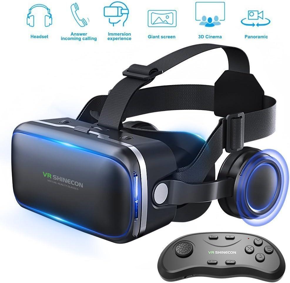 Gafas de realidad virtual 3D con auriculares para juegos de realidad virtual y películas en 3D de Honggu® Shinecon, paquete con mando a distancia: Amazon.es: Electrónica