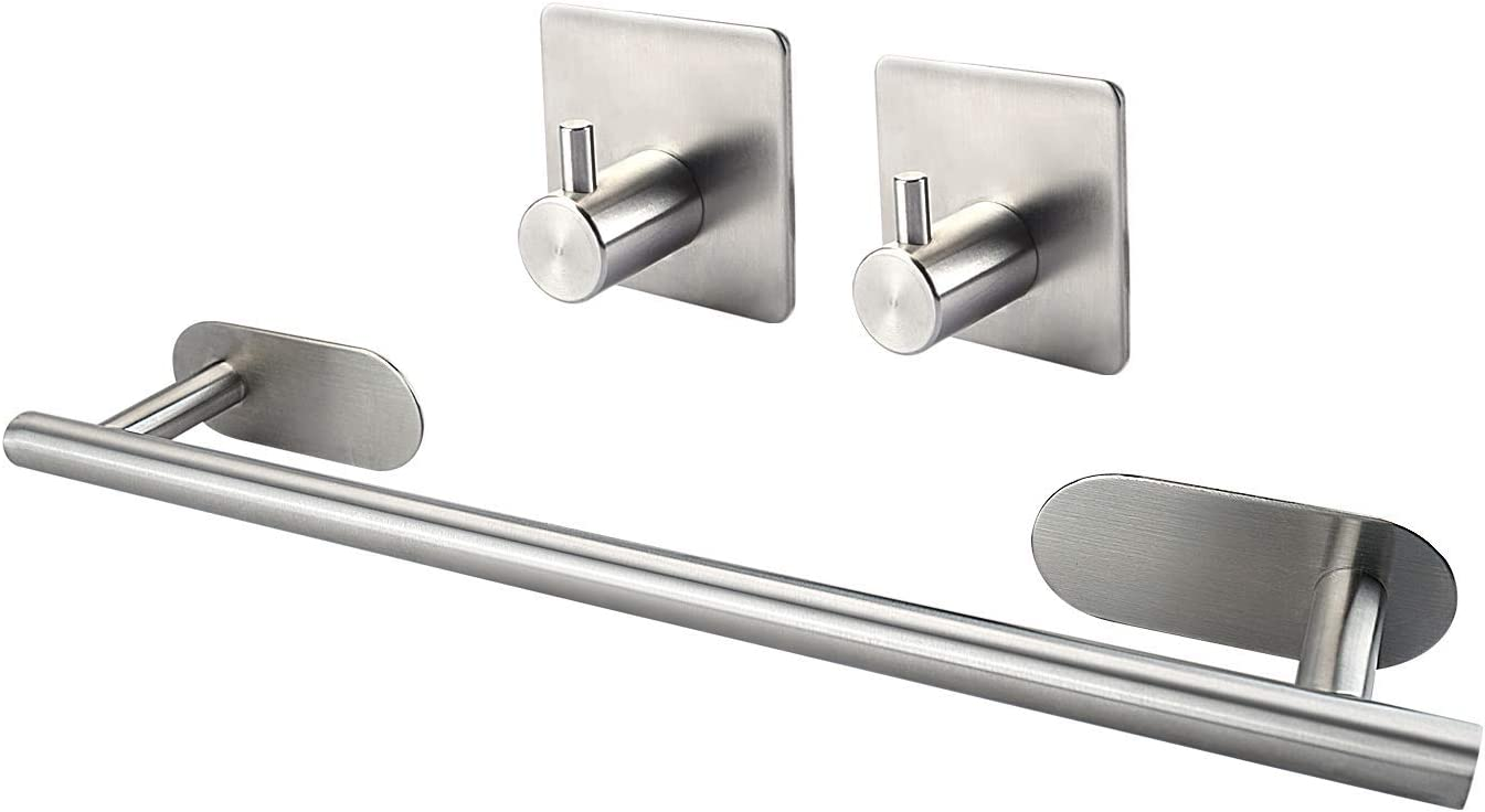 M V Voimakas Self Adhesive Towel Rack Set For Bathroom 3m 304 Stainless Steel Brushed Nickel Kitchen Towel Bar For Washroom Glass Ceramic Tile Wall Mounted 15 7in Amazon Com