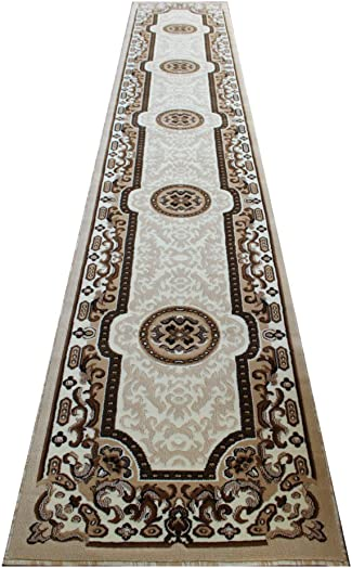 Traditional Rug Long Hall Runner 32 in X 15 Ft 6 in Design Kingdom D-123 Ivory