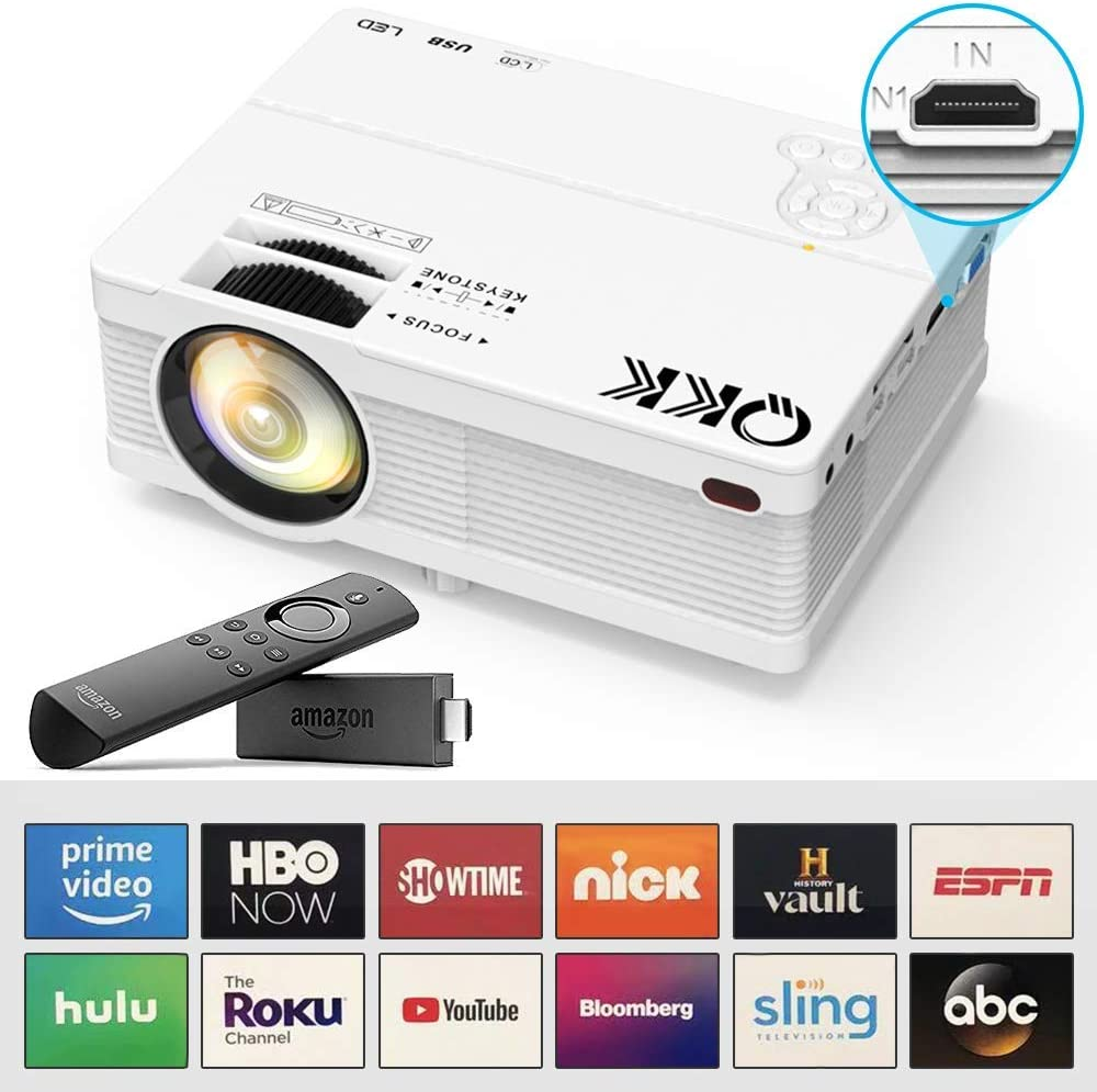 """QKK Mini Projector 5500Lumens Portable LCD Projector [100"""" Projector Screen Included] Full HD 1080P Supported, Compatible with Smartphone, TV Stick, Games, HDMI, AV, Projector for Outdoor Movies: Electronics"""