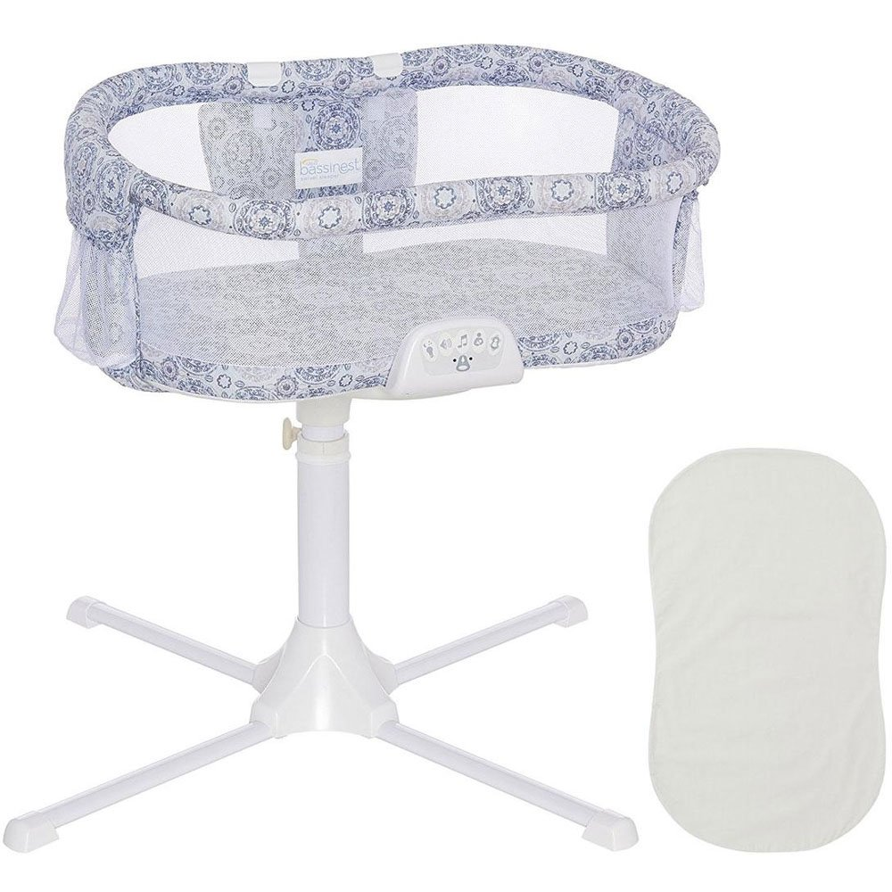 Halo - Swivel Sleeper Bassinet - Luxe Series - Blue Medallion with Grey Fitted Sheet