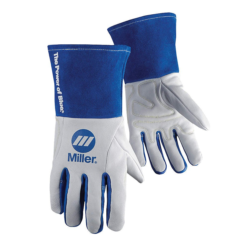 Welding Gloves, M, Wing, 11In, White/Blue, PR MILLER ELECTRIC 263347