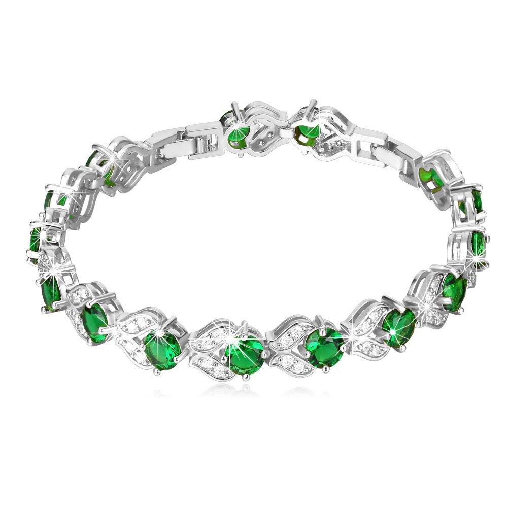 Women Platinum Plated Round Cut Green Cubic Zircon Stone Tennis Bracelet, 6 Inch - 8 Inch''