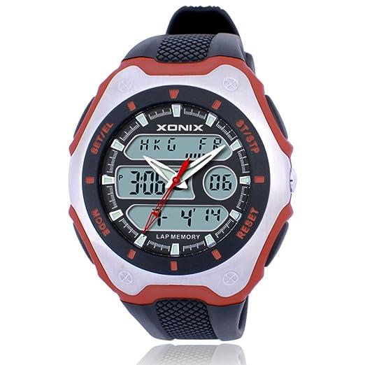 Deportes de múltiples funciones de los hombres reloj digital, Hora mundial zonas horarias múltiples led 100 m impermeable reloj de pulsera de resina doble ...