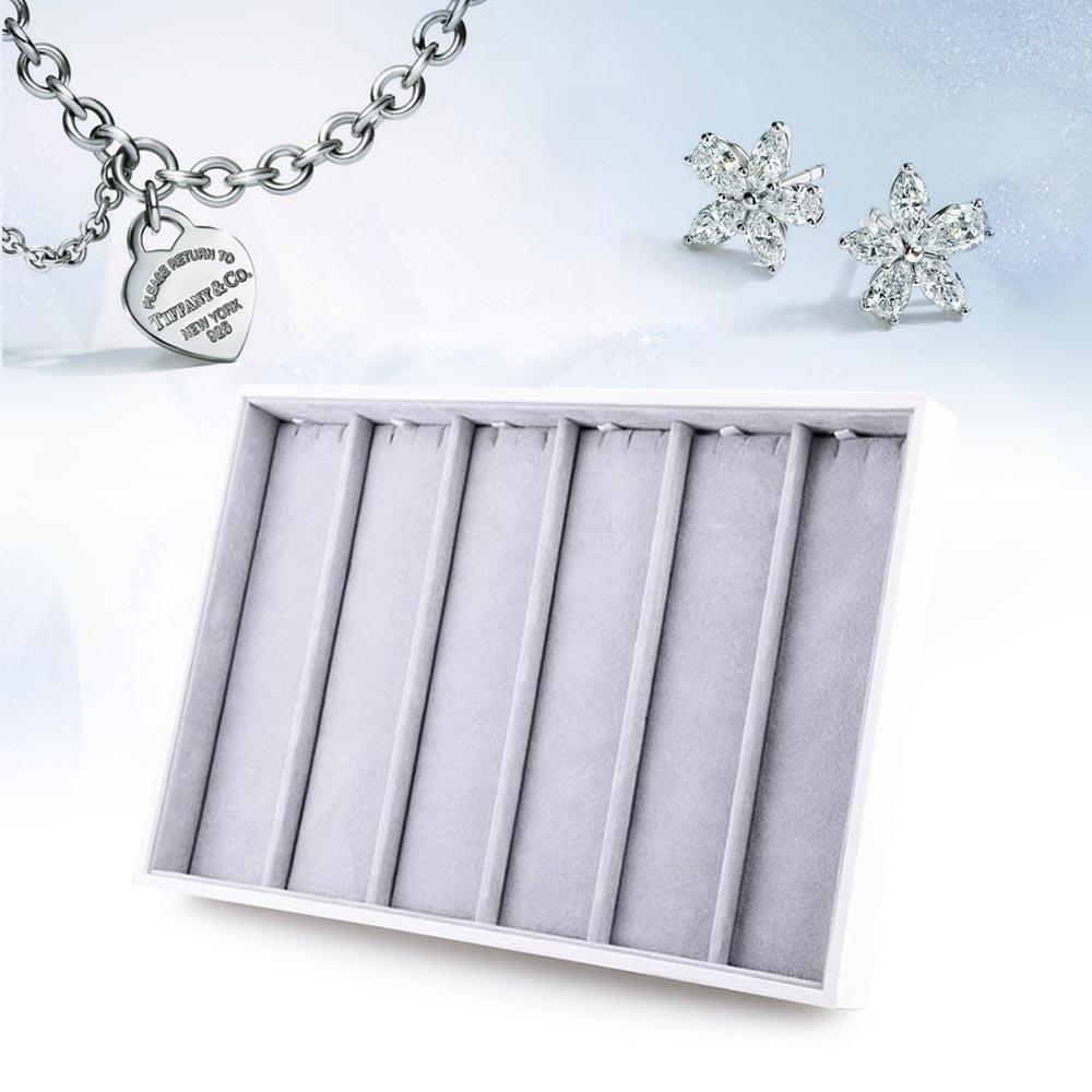oirlv terciopelo apilables bandeja de joyas terciopelo interior exterior de piel sint/ética color blanco joyas para soporte de joyer/ía soporte