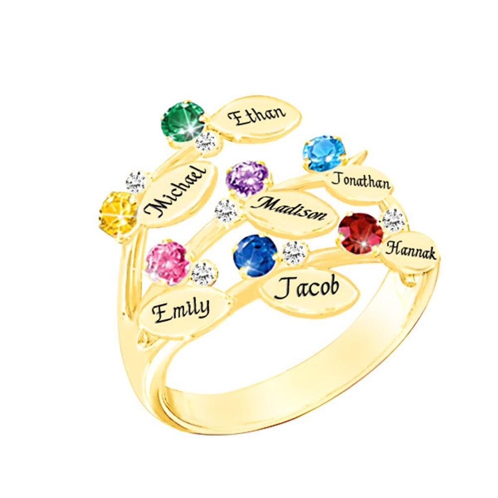 Personalized Engraved Mothers Ring with Swarovski Birthstones - Personalized & Custom Made Gift for Her(gold 8)