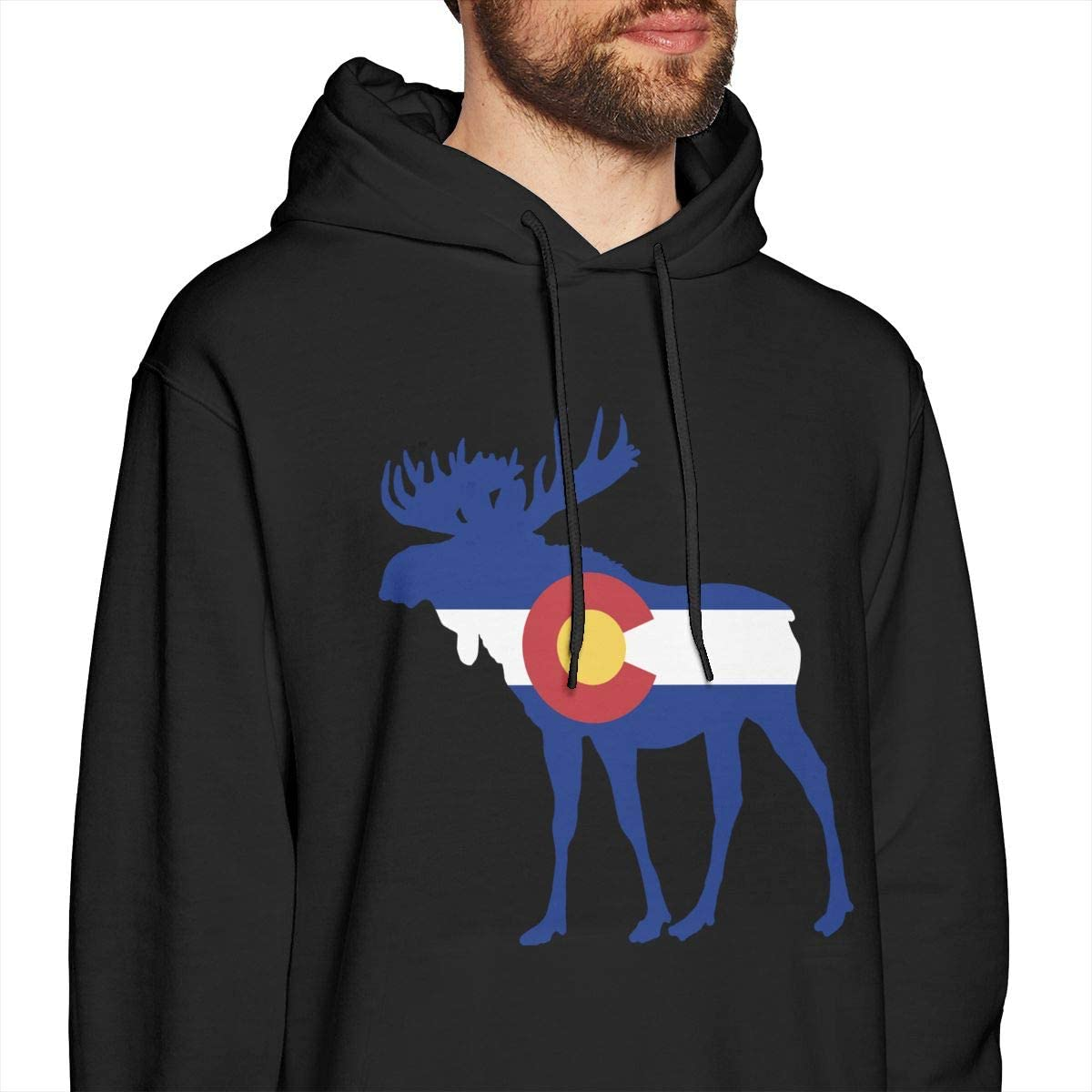 Mens Hoodies Colorado Flag Moose Funny Pullover Hooded Print Sweatshirt Jackets