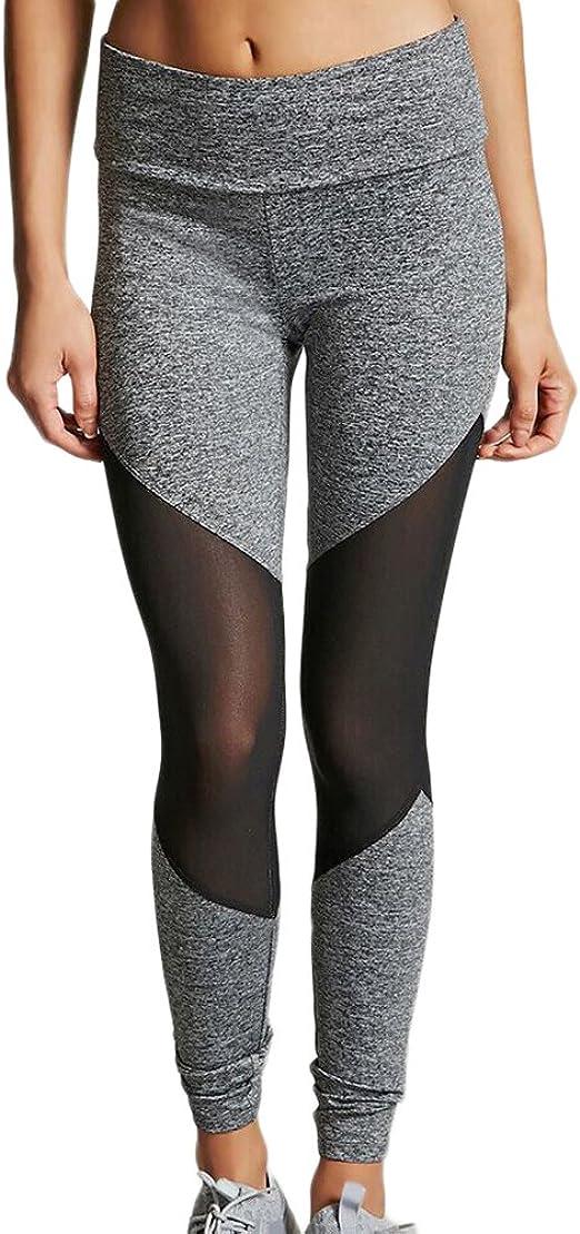 Donna Mesh Leggings Trasparenti Sportivi Fitness Palestra Pantaloni Patchwork Di Yoga Sport Jogging Grigio Xl Amazon It Abbigliamento