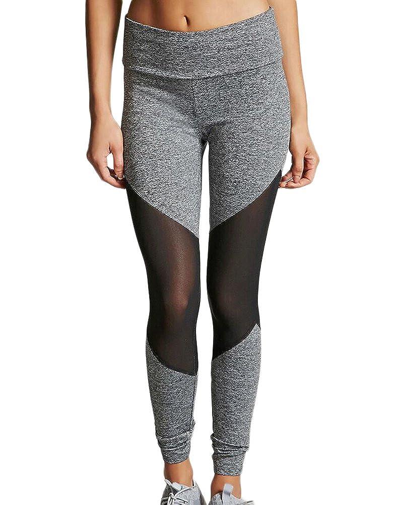 Donna Mesh Leggings Trasparenti Sportivi Fitness Palestra Pantaloni Patchwork Di Yoga Sport Jogging