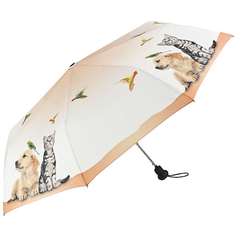 VON LILIENFELD Parapluie Automatique Pliant Mini Femme Motif Chien Chat Oiseau Faune