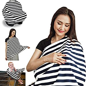 Nursing Cover Breastfeeding Scarf - Carseat Canopy - Baby Infant Car Seat Cover - 5 in 1 Shopping Cart, Stroller, High Chair Covers for Boy Girl in Summer Winter - With FREE E-Book