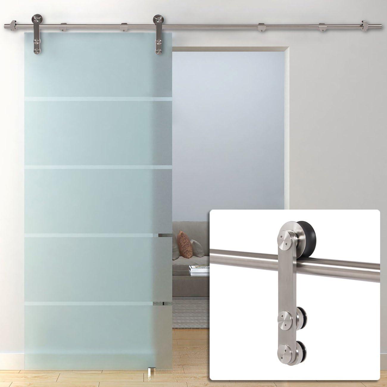 belleze puerta corredera pista hardware estilo moderno granero puerta de cristal, acero inoxidable, 6.6 ft: Amazon.es: Bricolaje y herramientas