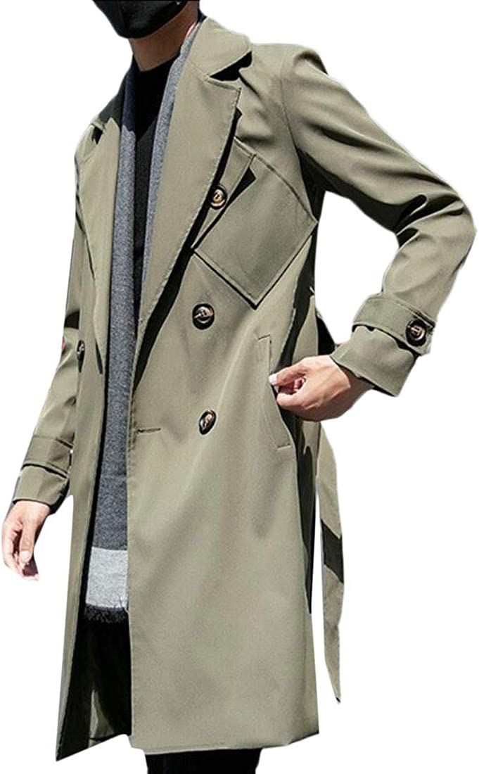 Keaac Men Double Breasted Long Windbreaker Button Jackets Trench Coat