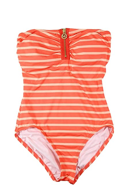 4b9bb63adafa5 Michael Kors Striped One-Piece Swimsuit Hot Coral 6 at Amazon Women's  Clothing store: