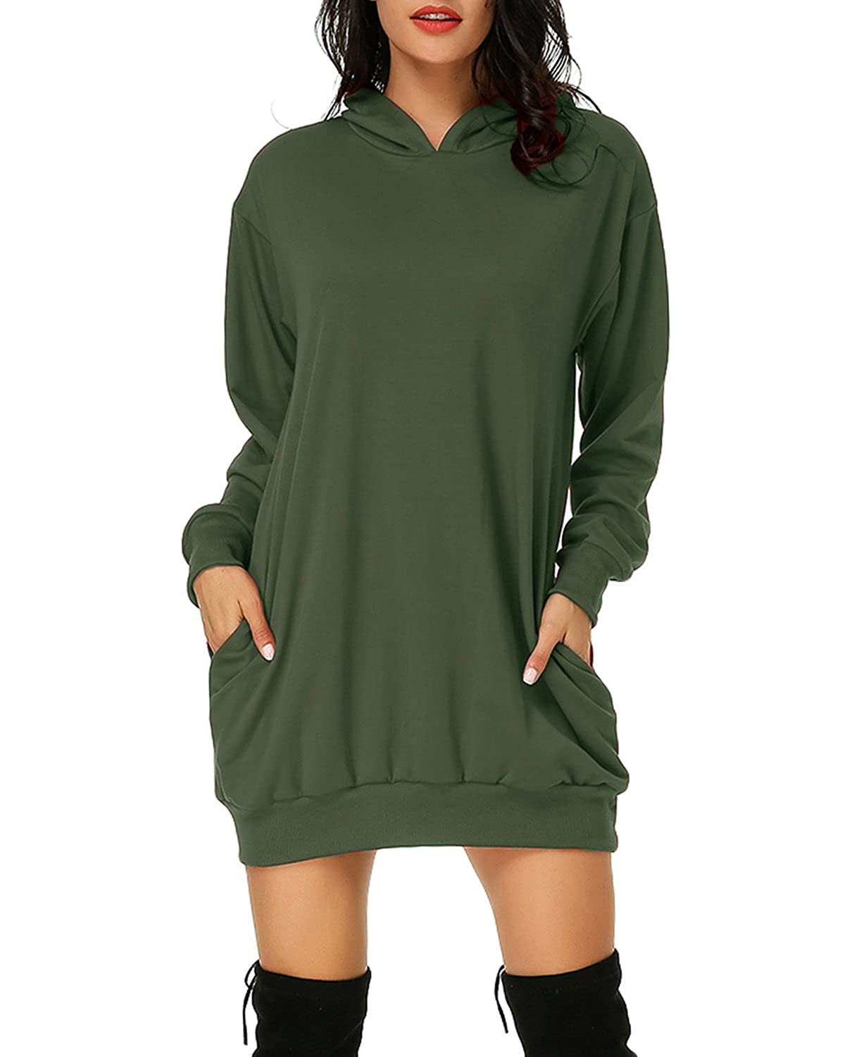 836189d5f Auxo Women's Long Sleeve Hooded Pockets Pullover Hoodie Dress Tunic  Sweatshirt Army Green US 14/ASIAN/2XL at Amazon Women's Clothing store: