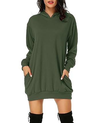 9fd99adb81 Auxo Women s Long Sleeve Hooded Pockets Pullover Hoodie Dress Tunic  Sweatshirt Army Green US 4