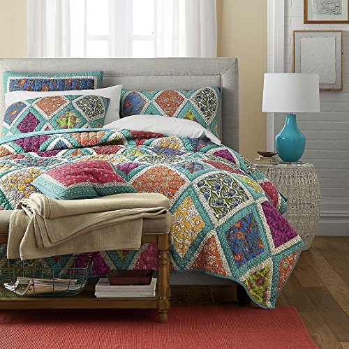 DaDa Bedding Bohemian Fairy Forest Glade Patchwork Cotton Quilted Sqaure Pillow Accent Euro Cover Case - Bright Vibrant Multi-Colorful Turquoise Teal Blue Diamond Floral Print -26